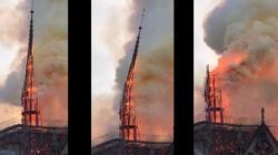 Tak wyglądało zawalenie się głównej iglicy Notre Dame - miniaturka