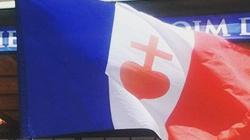PIĘKNE! Jeszcze Francja nie zginęła póki oni żyją! Francuska flaga z Sercem Jezusa! - miniaturka