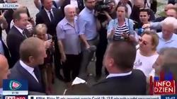 ,,Tusk patrzył na to. Śmiali się''. Uderzona na spotkaniu z Tuskiem kobieta zapowiada kroki prawne  - miniaturka