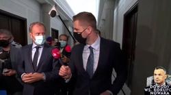 [Wideo] ,,Myślałem, że pan wyższy poziom reprezentuje'' - dziennikarz do Tuska obrażającego go i unikającego odpowiedzi nt. Nowaka - miniaturka