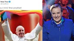 Thun udostępnia fotomontaż z Papieżem i tęczową flagą. ,,Brać przykład!''. Kuriozalne tłumaczenia... - miniaturka